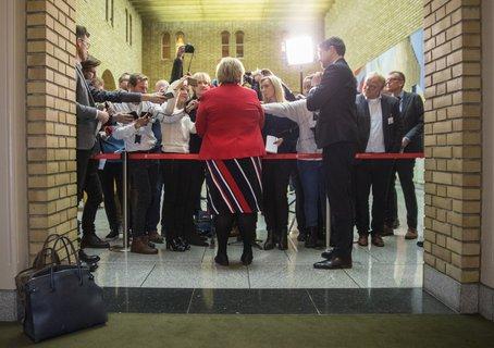 Statsminister Erna Solberg møtte pressen etter spørretimen på Stortinget onsdag     Foto: Ole Berg-Rusten / NTB Scanpix